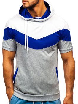 Bolf Herren T-Shirt mit Motiv und Kapuze Grau 9026