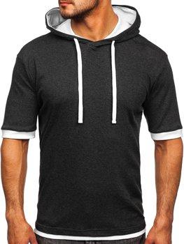 Bolf Herren T-Shirt ohne Motiv mit Kapuze Anthrazit-Weiß  08