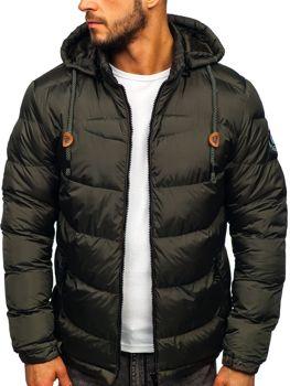Bolf Herren Winterjacke Sport Jacke mit Steppmuster Khaki  50A156