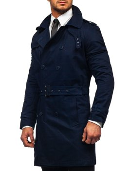 Bolf Herren Zweireihiger Mantel Trenchcoat mit Stehkragen und Gürtel Dunkelblau  5569