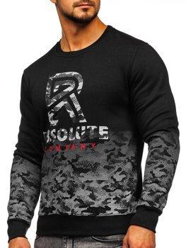 Bolf Heren Sweatshirt ohne Kapuze mit Motiv Schwarz  DD392