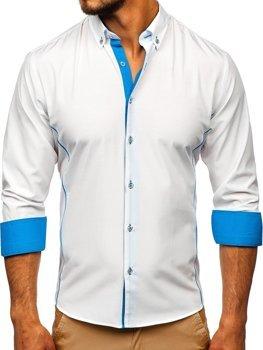 Bolf Herren Hemd Elegant Langarm Weiß-Hellblau  5722-1-A