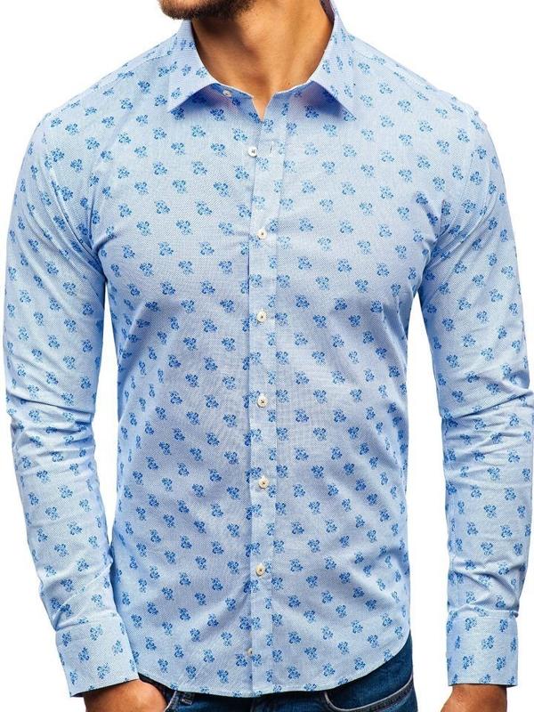 Bolf Herren Hemd Gemustert Langarm Weiß-Blau 300G36
