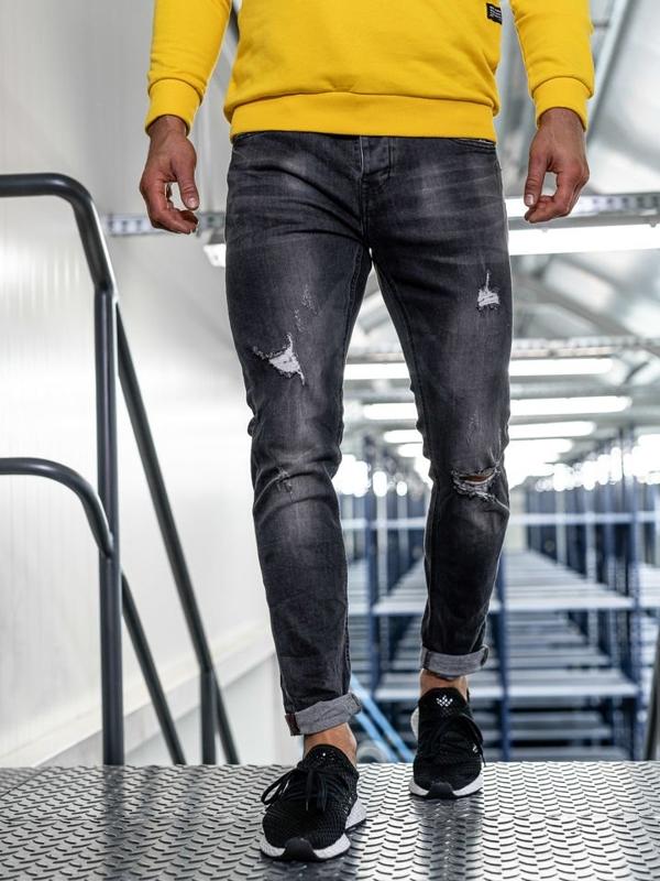 Bolf Herren Jeans Hose slim fit Schwarz  KX313