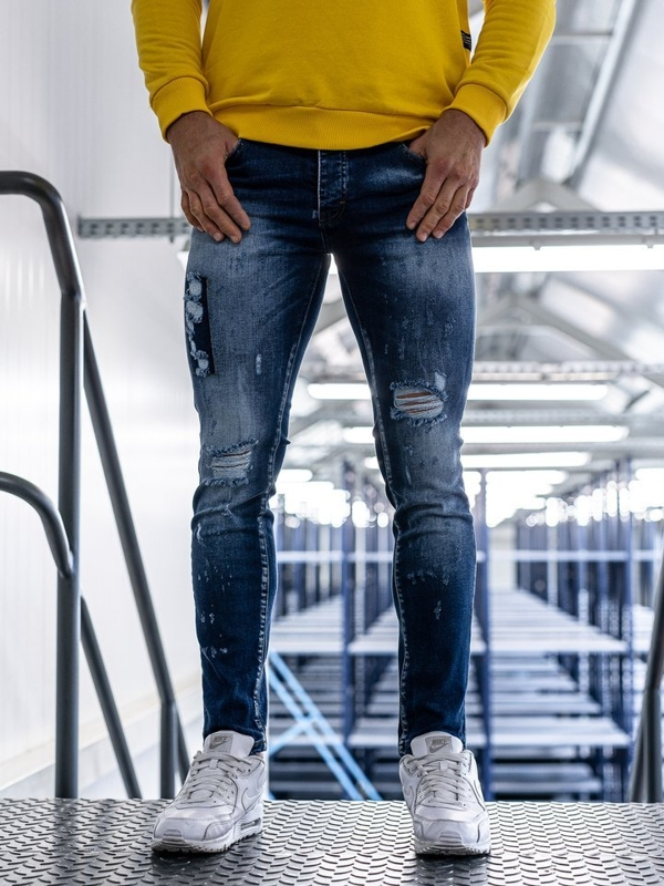 Bolf Herren Jeanshose skinny fit Blau  1801