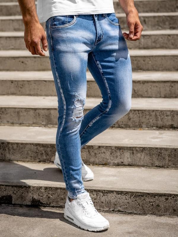 Bolf Herren Jeanshose skinny fit Dunkelblau  KX522