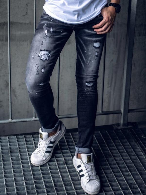 Bolf Herren Jeanshose skinny fit Schwarz  9234
