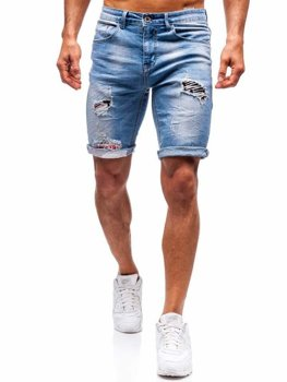 Bolf Herren Kurze Jeanshose Blau  3962