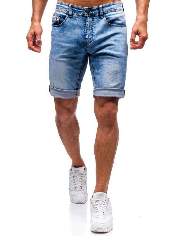 Bolf Herren Kurze Jeanshose Blau  7805