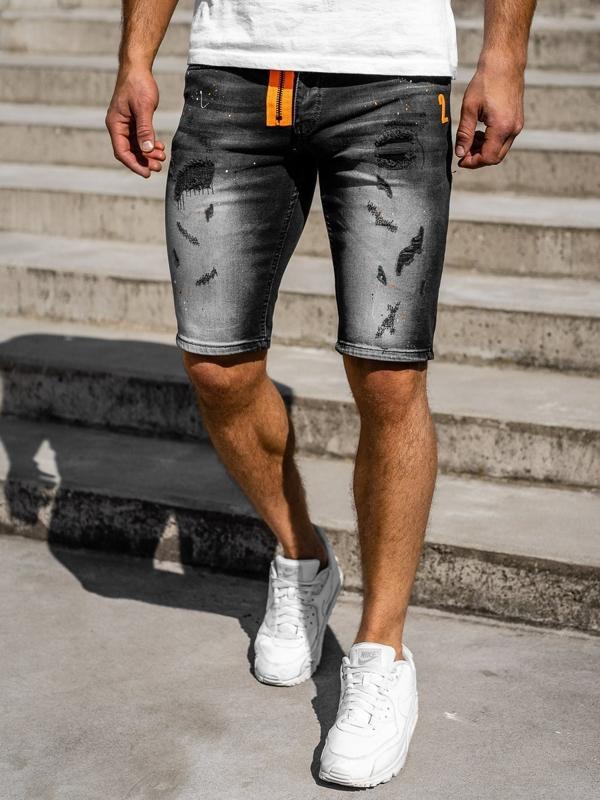 Bolf Herren Kurze Jeanshose Schwarz  3002