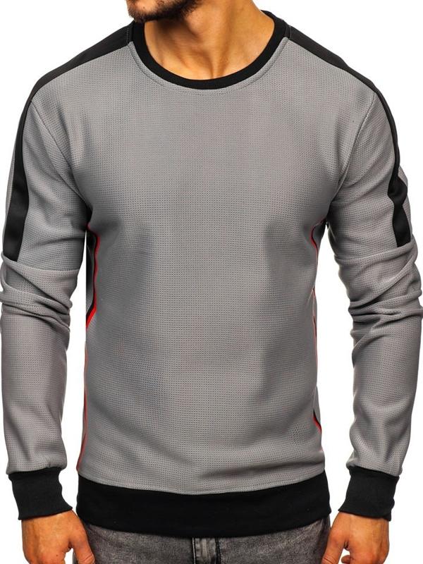 Bolf Herren Sweatshirt ohne Kapuze Grau  DD737