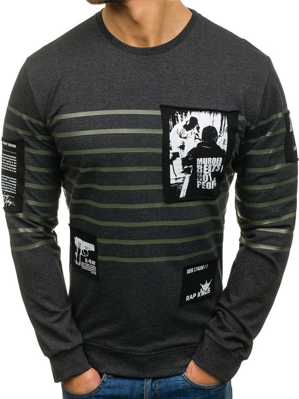 Bolf Herren Sweatshirt ohne Kapuze mit Motiv Schwarzgrau  M07