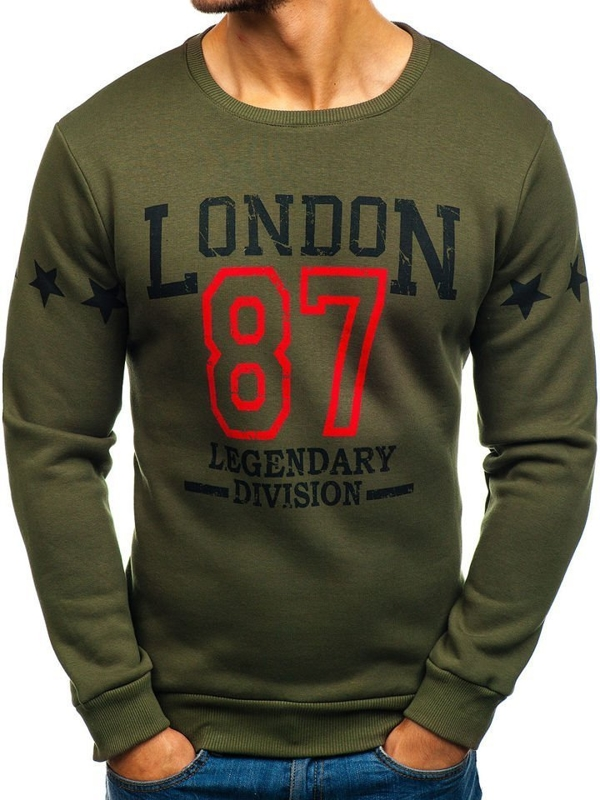 Bolf Herren Sweatshirt ohne Motiv Grün 0772