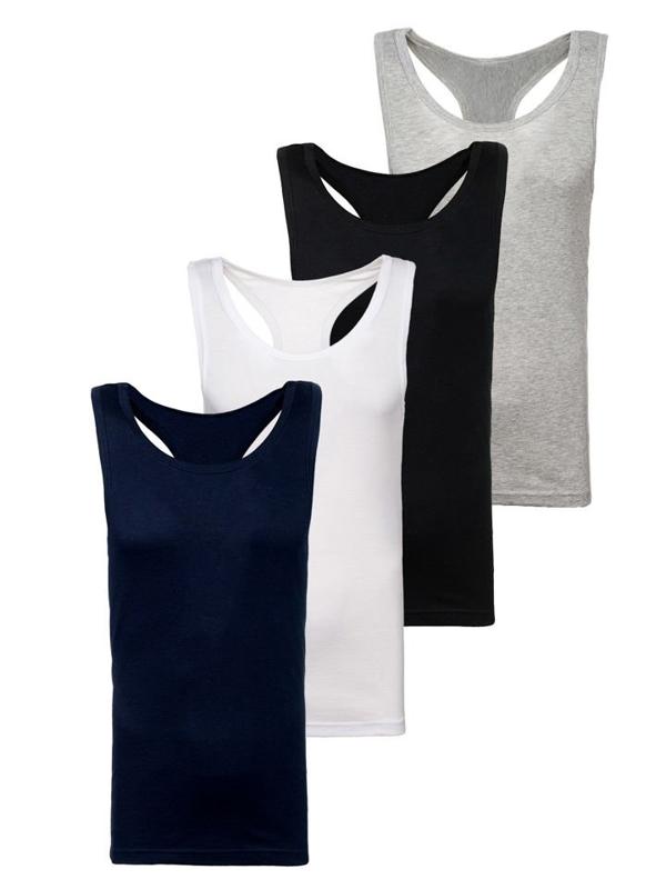 Bolf Herren Unterhemd Mehrfarbig 4 Pack  C3061-4P