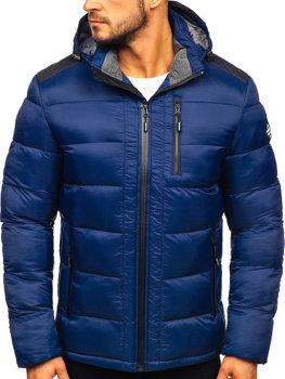 Bolf Herren Winterjacke Sport Jacke mit Steppmuster Dunkelblau  AB98