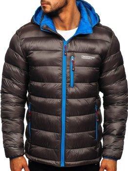 Bolf Herren Winterjacke Sport Jacke mit Steppmuster Schwarzgrau  BK145