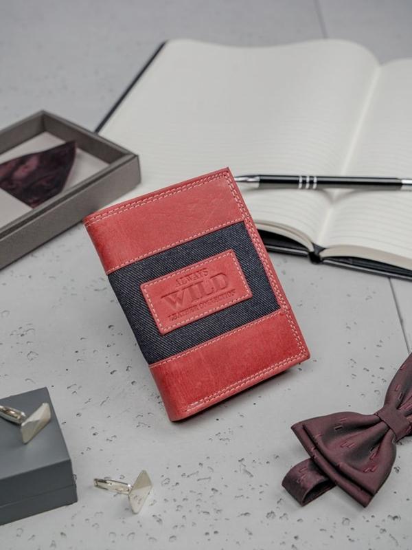 Herren Leder Geldbörse Rot 3179