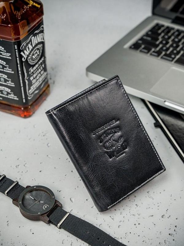 Herren Leder Geldbörse Schwarz 3210