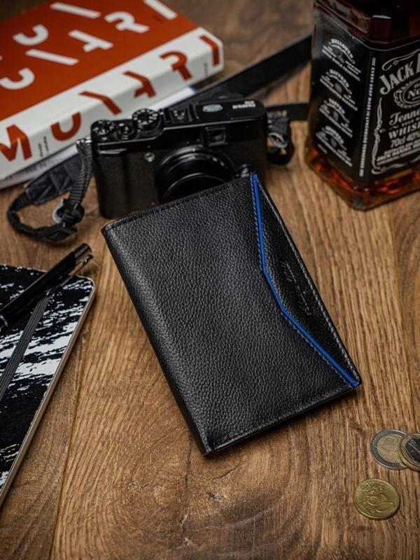 Herren Leder Geldbörse Schwarz Blau 2060