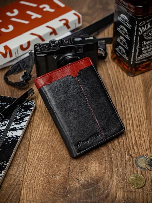Herren Leder Geldbörse Schwarz Rot 2052