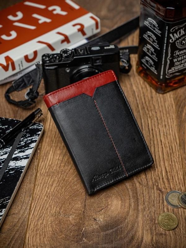 Herren Leder Geldbörse Schwarz Rot 2053