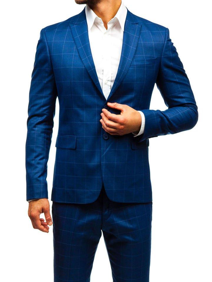 Bolf Herren Anzug Kariert mit Weste Blau 18200