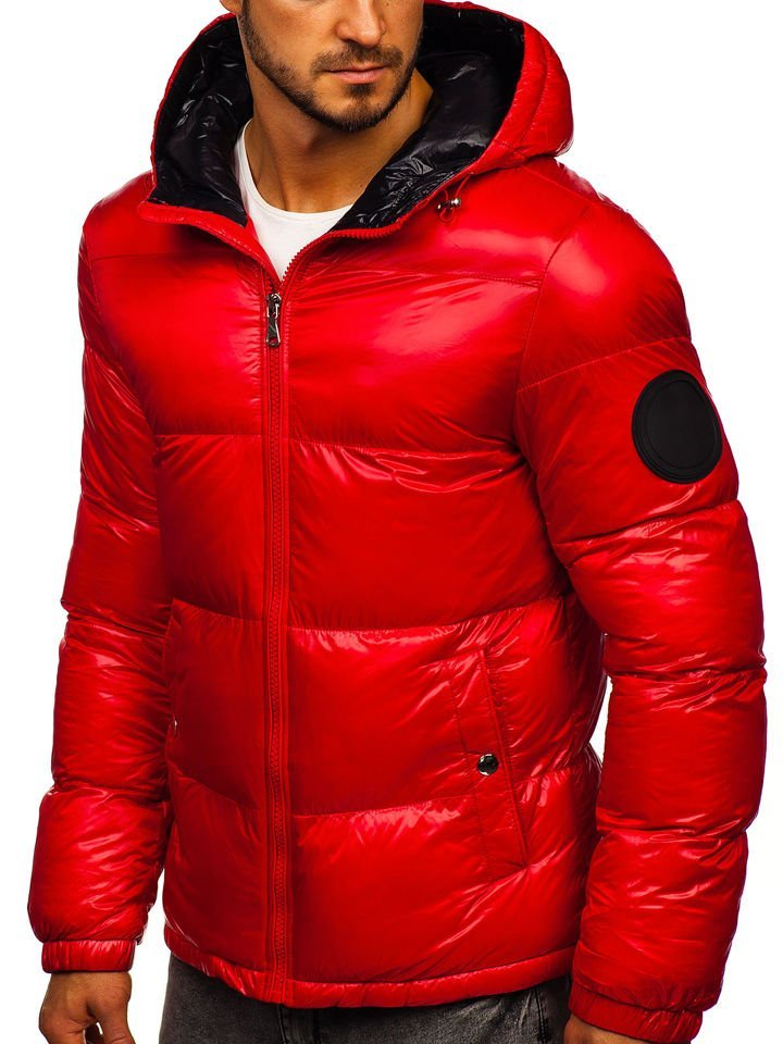 Bolf Herren Winterjacke mit Steppmuster Rot 99311