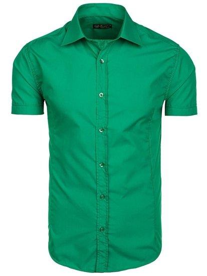 Bolf Herren Hemd Elegant Kurzarm Grün  7501