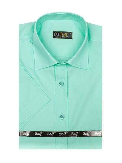 Bolf Herren Hemd Elegant Kurzarm Mintgrün  7501