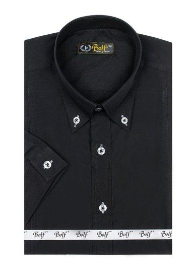 Bolf Herren Hemd Elegant Kurzarm Schwarz  5535