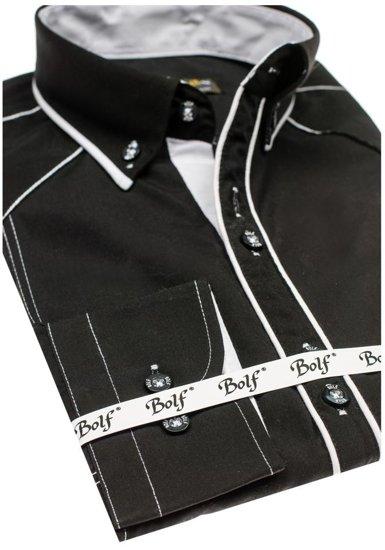 Bolf Herren Hemd Elegant Langarm Schwarz-Weiß 4777