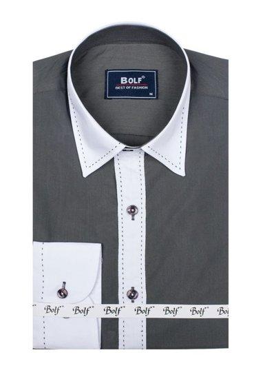 Bolf Herren Hemd Elegant Langarm Schwarzgrau Bolf 6882