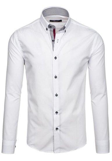 Bolf Herren Hemd Elegant Langarm Weiß  6943