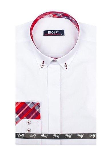 Bolf Herren Hemd Elegant Langarm Weiß Bolf 6930