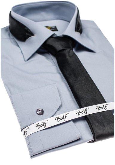 Bolf Herren Hemd Langarm Elegant Grau 4714-1