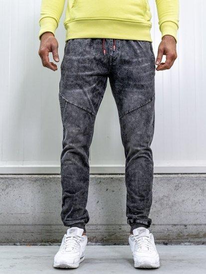 Bolf Herren Jeanshose Jogger Schwarz  KK1055