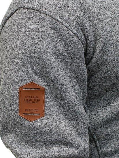 Bolf Herren Kapuzenpullover Grau-Schwarz  3563