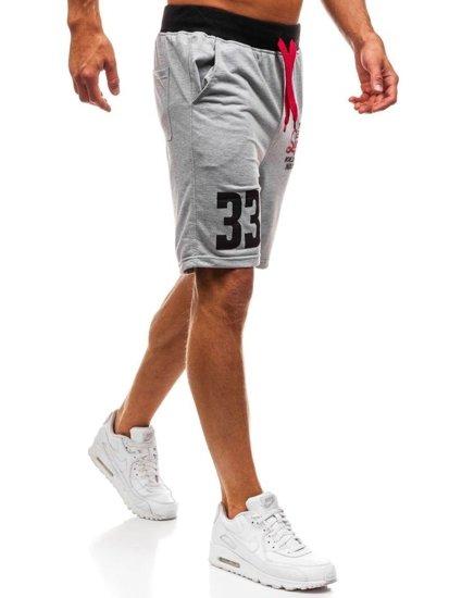 Bolf Herren Kurze Sporthose Grau  EX06-1