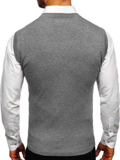 Bolf Herren Pullover Ärmellos Grau  H1939