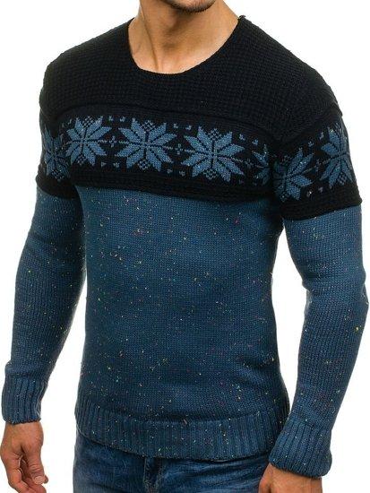 Bolf Herren Pullover mit Muster Blau-Dunkelblau  1563
