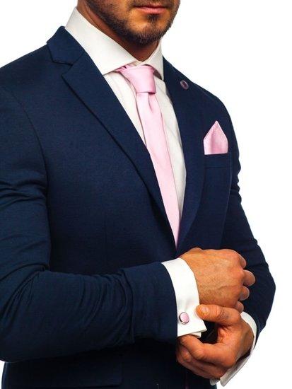 Bolf Herren Set Krawatte, Manschettenknöpfe, Einstecktuch Rosa  KSP01