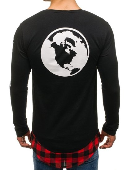 Bolf Herren Sweatshirt mit Motiv Schwarz-Rot 0778