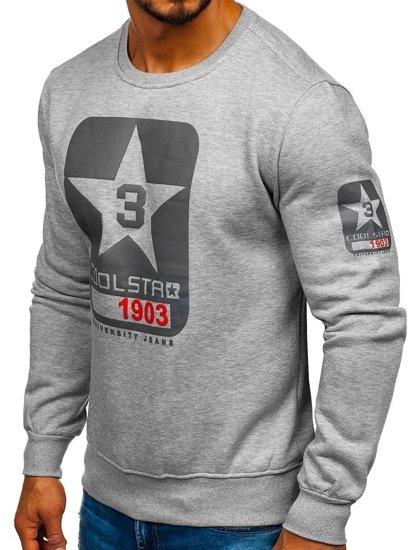 Bolf Herren Sweatshirt ohne Kapuze Grau J88