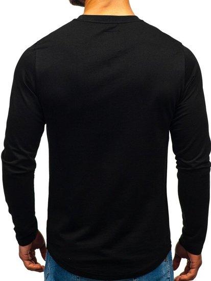 Bolf Herren Sweatshirt ohne Kapuze Schwarz-Blau 0756