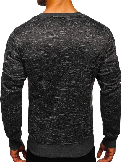 Bolf Herren Sweatshirt ohne Kapuze Schwarzgrau  2001-4