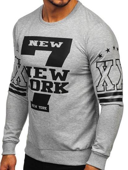 Bolf Herren Sweatshirt ohne Kapuze mit Motiv Grau  0384