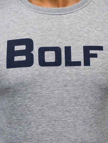 Bolf Herren Sweatshirt ohne Kapuze mit Motiv Grau Bolf 75