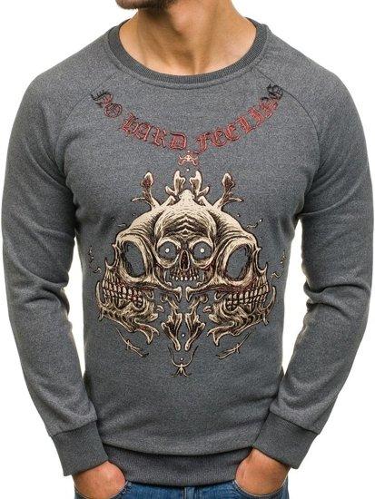 Bolf Herren Sweatshirt ohne Kapuze mit Motiv Schwarzgrau  171492
