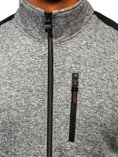 Bolf Herren Sweatshirt ohne Kapuze mit Reißverschluss Grau  TC976