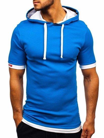 Bolf Herren T-Shirt mit Kapuze Blau  08-1